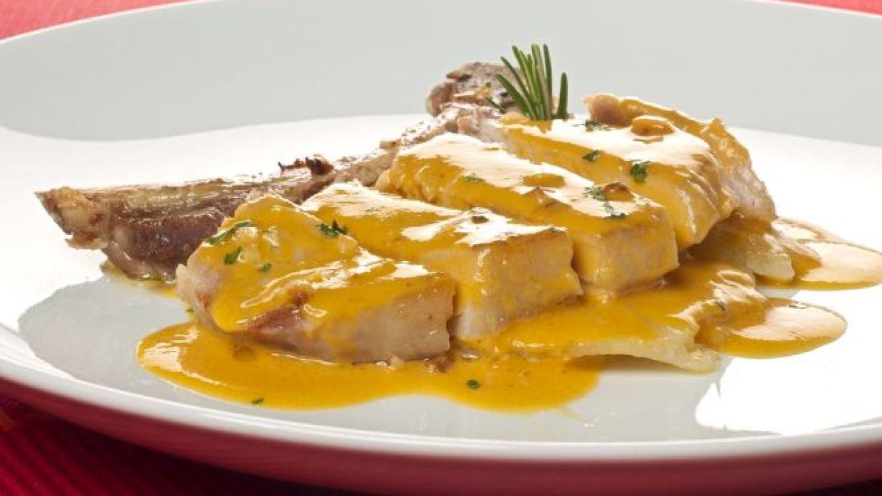 Pechuga de pavo con salsa de mango